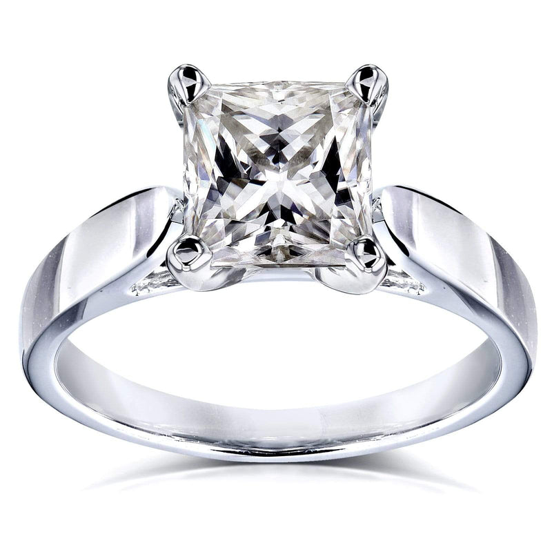 Kobelli Princess Moissanite Solitaire Peg Head Cathedral Engagement Ring 1 1/2 Carat 14k White Gold