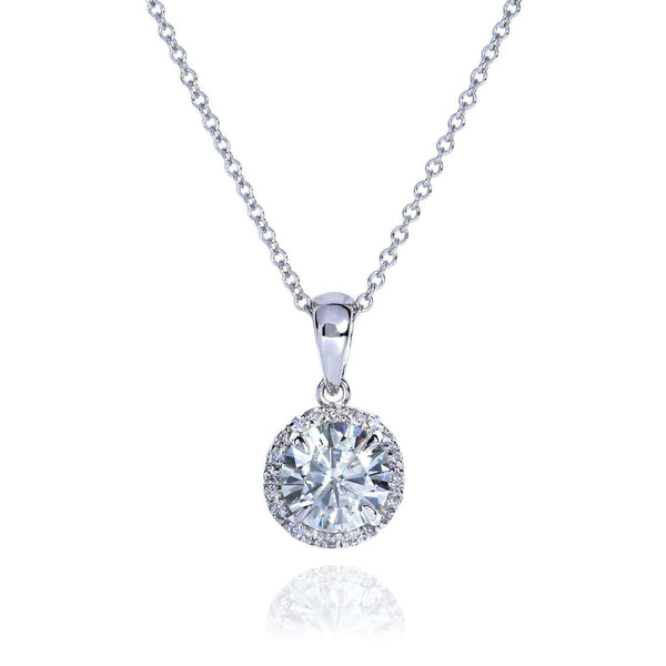 Kobelli Round Moissanite and Diamond Necklace 1 1/10 CTW 14k Gold