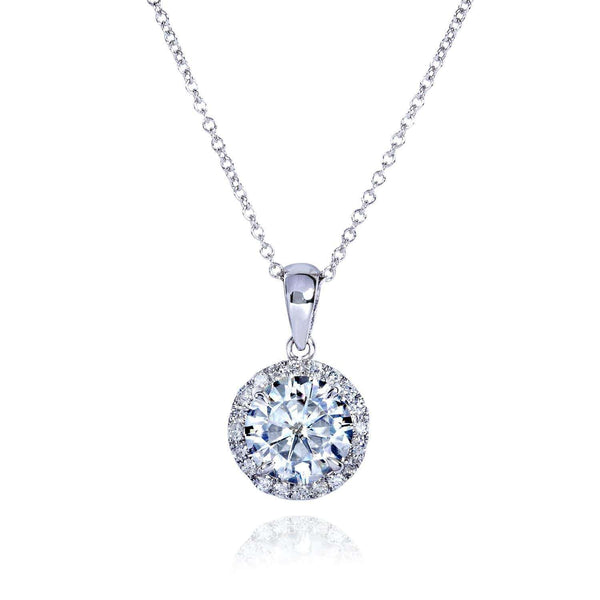 Kobelli Round Moissanite and Diamond Necklace 1 5/8 CTW 14k Gold