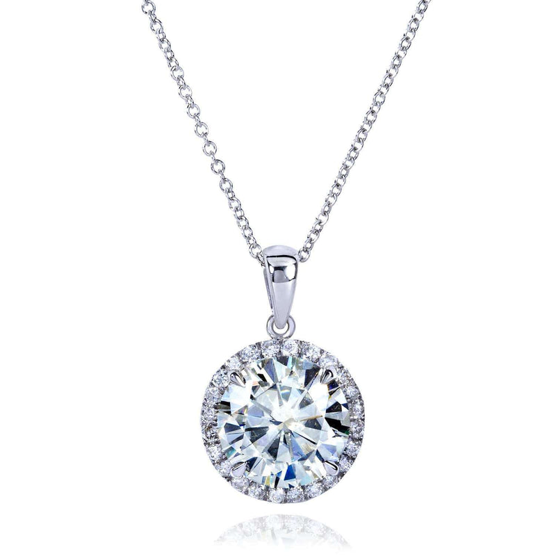 Kobelli Round Moissanite and Diamond Necklace 3 1/3 CTW 14k Gold