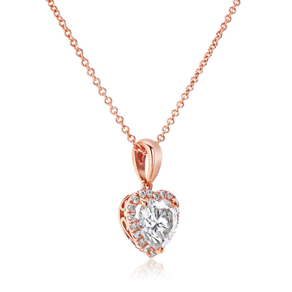 Heart-Shape Moissanite & Diamond Necklace 1 1/10 CTW 14K Gold