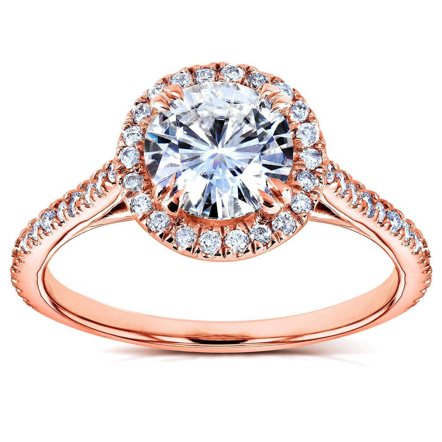 Reviews Round-cut Moissanite and Diamond Engagement Ring 1 1/4 CTW in 14k Rose Gold - 10