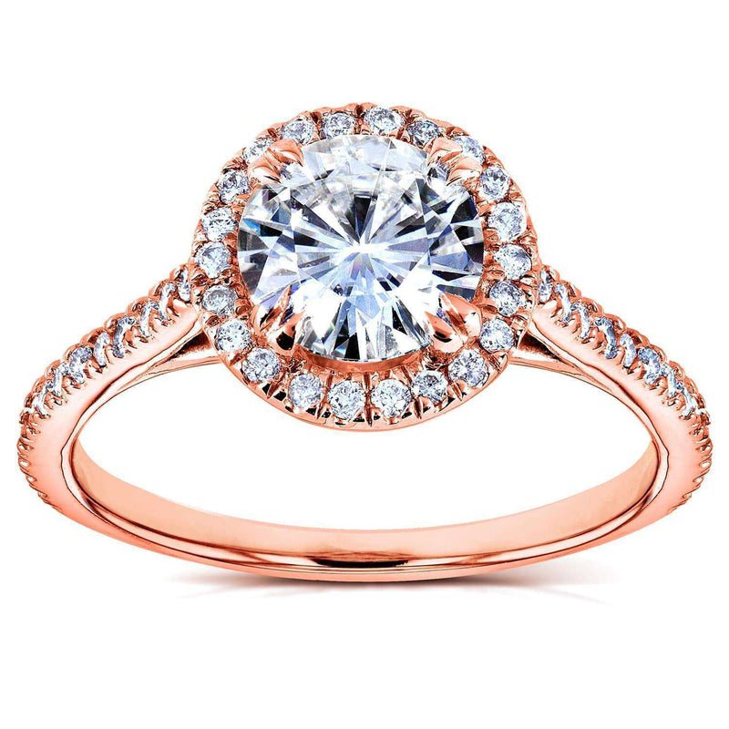 Kobelli Round-cut Moissanite and Diamond Engagement Ring 1 1/4 CTW in 14k Rose Gold