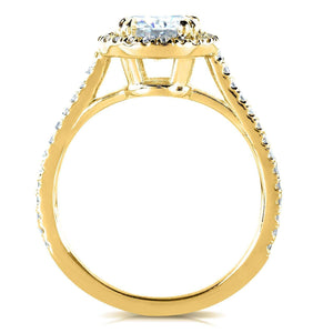 Kobelli Moissanite Halo Basket Cathedral Bridal Set
