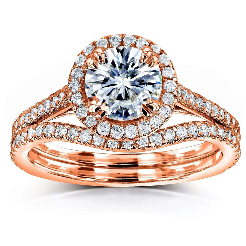 Kobelli Forever One Moissanite Halo Basket Cathedral Bridal Set MZFO61761R-ED2/4.5R