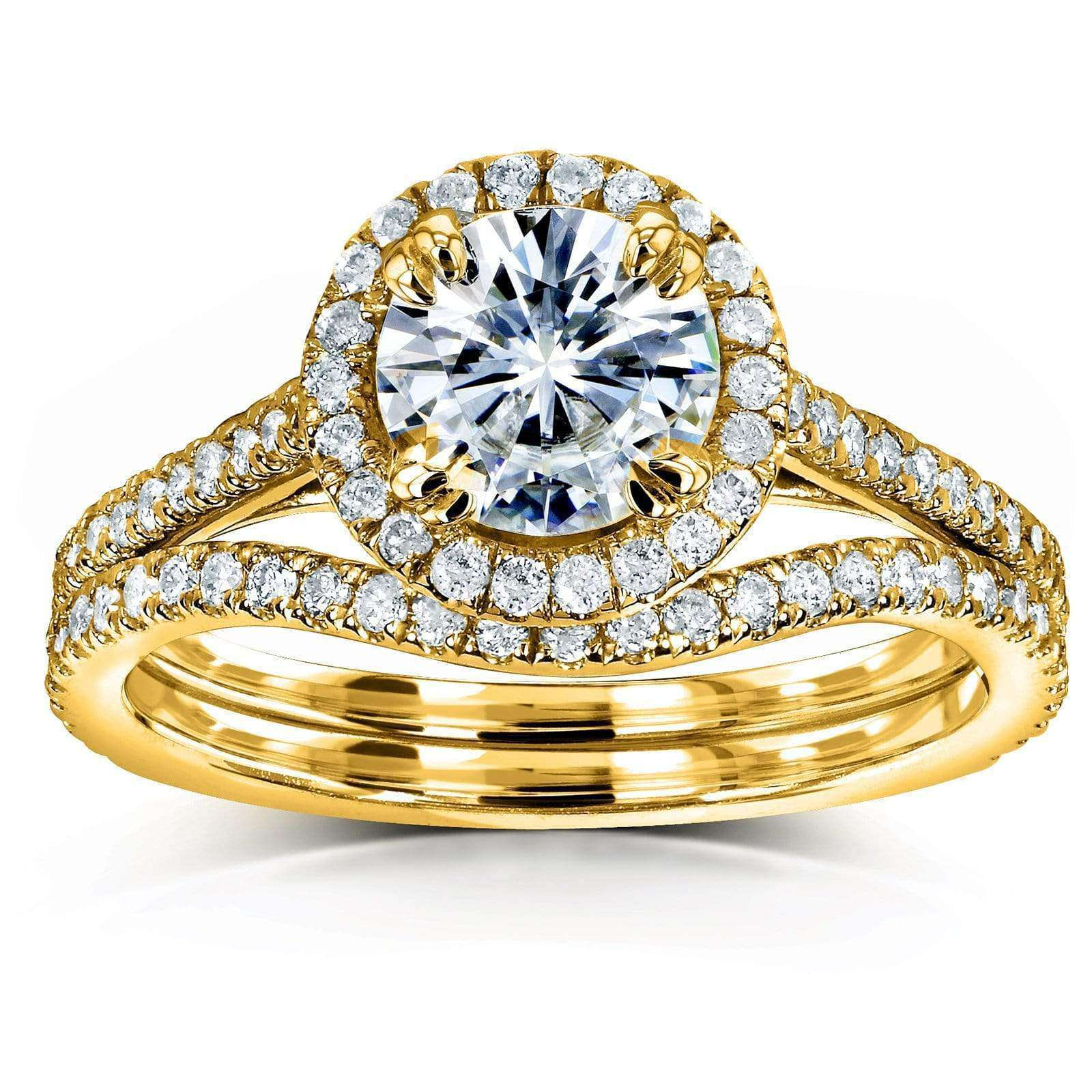 Best Forever One Moissanite Halo Basket Cathedral Bridal Set - yellow-gold 9.5