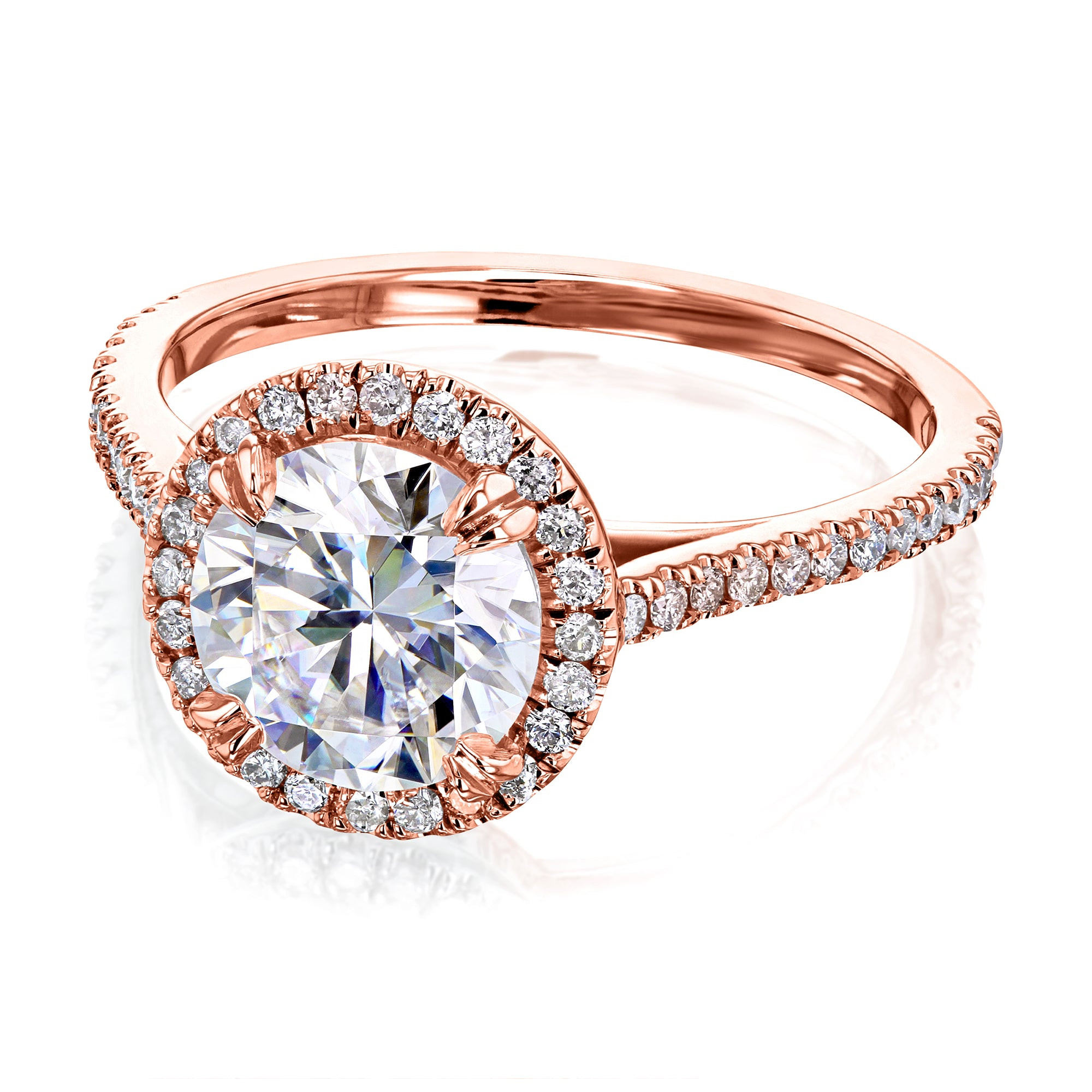 Top 1.5ct Round Moissanite Halo Ring - 4.5 Kobelli H-I rose-gold