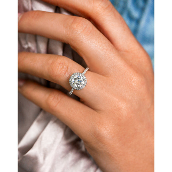 1.5ct Round Moissanite Halo Ring