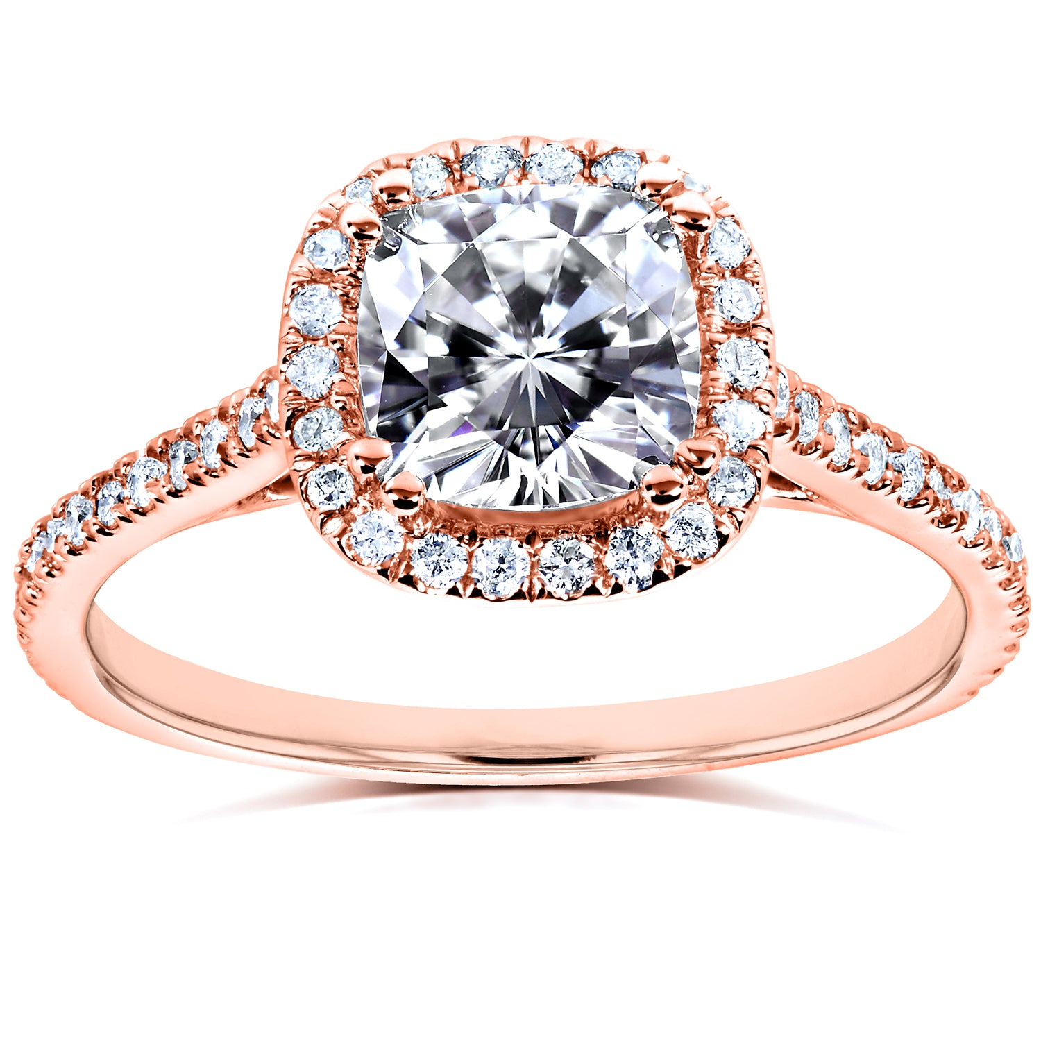 Cheap Cushion-cut Moissanite Engagement Ring with Diamond 1 1/3 CTW 14k Gold - 4.0 rose-gold