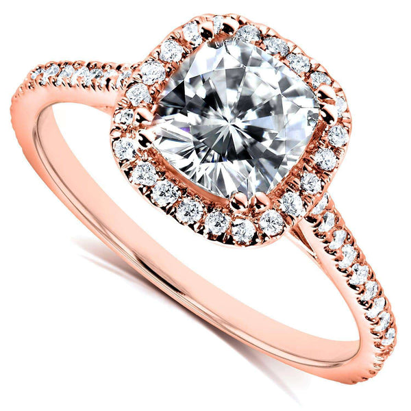 Kobelli Moissanite and Lab Grown Diamond Halo Engagement Ring 1 1/3 CTW 14k Rose Gold (FG/VS, DEF/VS)