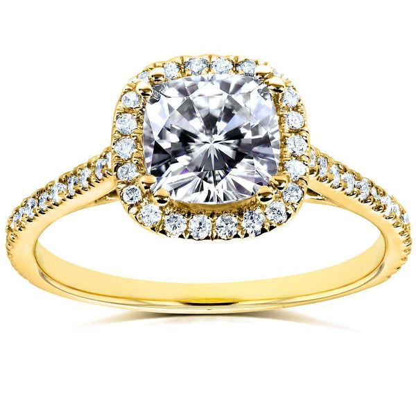 Kobelli Moissanite and Lab Grown Diamond Halo Engagement Ring 1 1/3 CTW 14k Yellow Gold (FG/VS, DEF/VS)