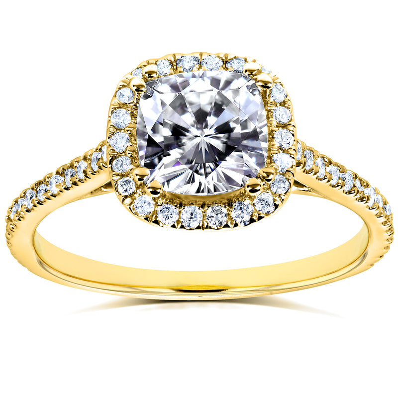 Cushion Moissanite and Lab Grown Diamond Halo Ring