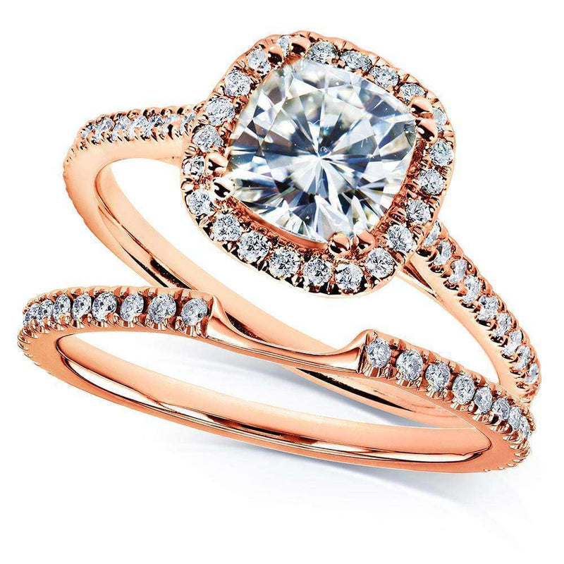 Kobelli Kobelli Moissanite and Lab Grown Diamond Halo Bridal Rings Set 1 1/2 CTW in 14k Rose Gold (FG/VS, DEF/VS)