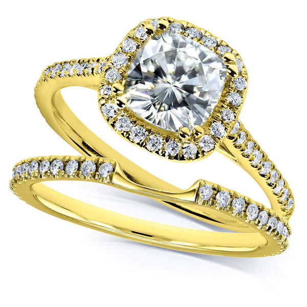 Kobelli Kobelli Moissanite and Lab Grown Diamond Halo Bridal Rings Set 1 1/2 CTW in 14k Yellow Gold (FG/VS, DEF/VS)