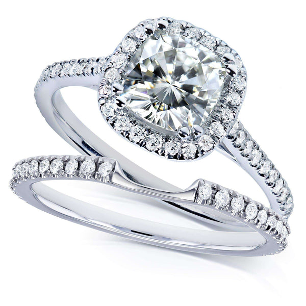 Kobelli Kobelli Moissanite and Lab Grown Diamond Halo Bridal Rings Set 1 1/2 CTW in 14k White Gold (FG/VS, DEF/VS)
