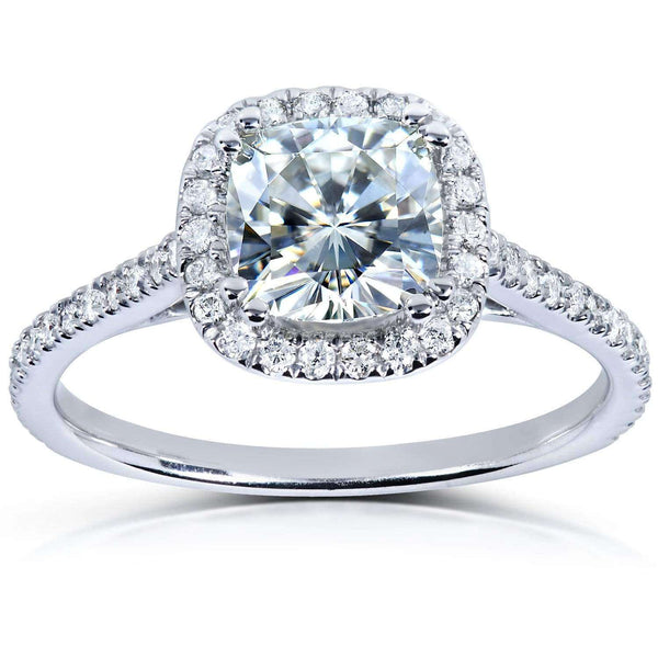 Kobelli Moissanite and Lab Grown Diamond Halo Engagement Ring 1 1/3 CTW 14k White Gold (FG/VS, DEF/VS)