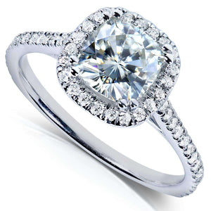 Moissanite and Lab Grown Diamond Halo Engagement Ring 1 1/3 CTW 14k White Gold (HI/VS, DEF/VS)