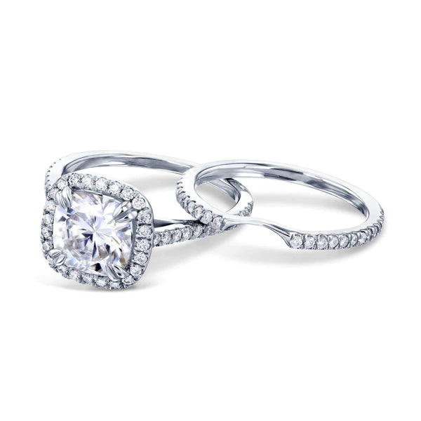 Kobelli 2ct Cushion Forever One Moissanite Halo Bridal Set MZFO61766-EDLG/4W
