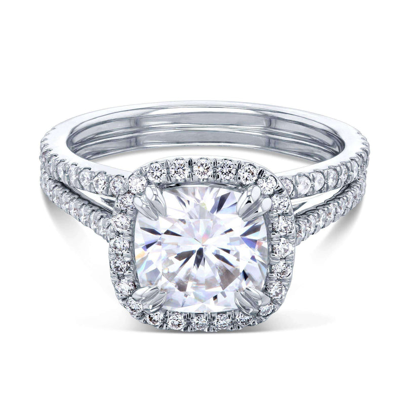 Kobelli 2ct Cushion Moissanite Halo Bridal Set