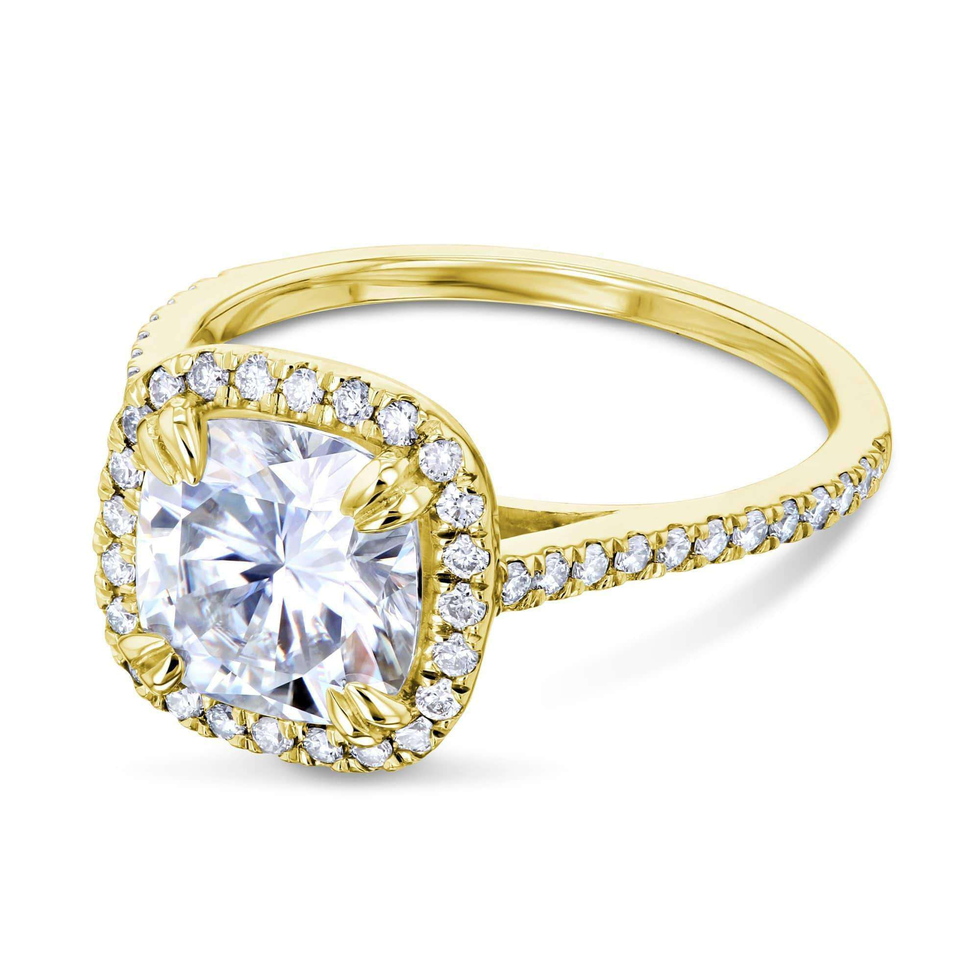 Coupons 2ct Cushion Moissanite Halo Ring - yellow-gold 9.5 Kobelli F-G