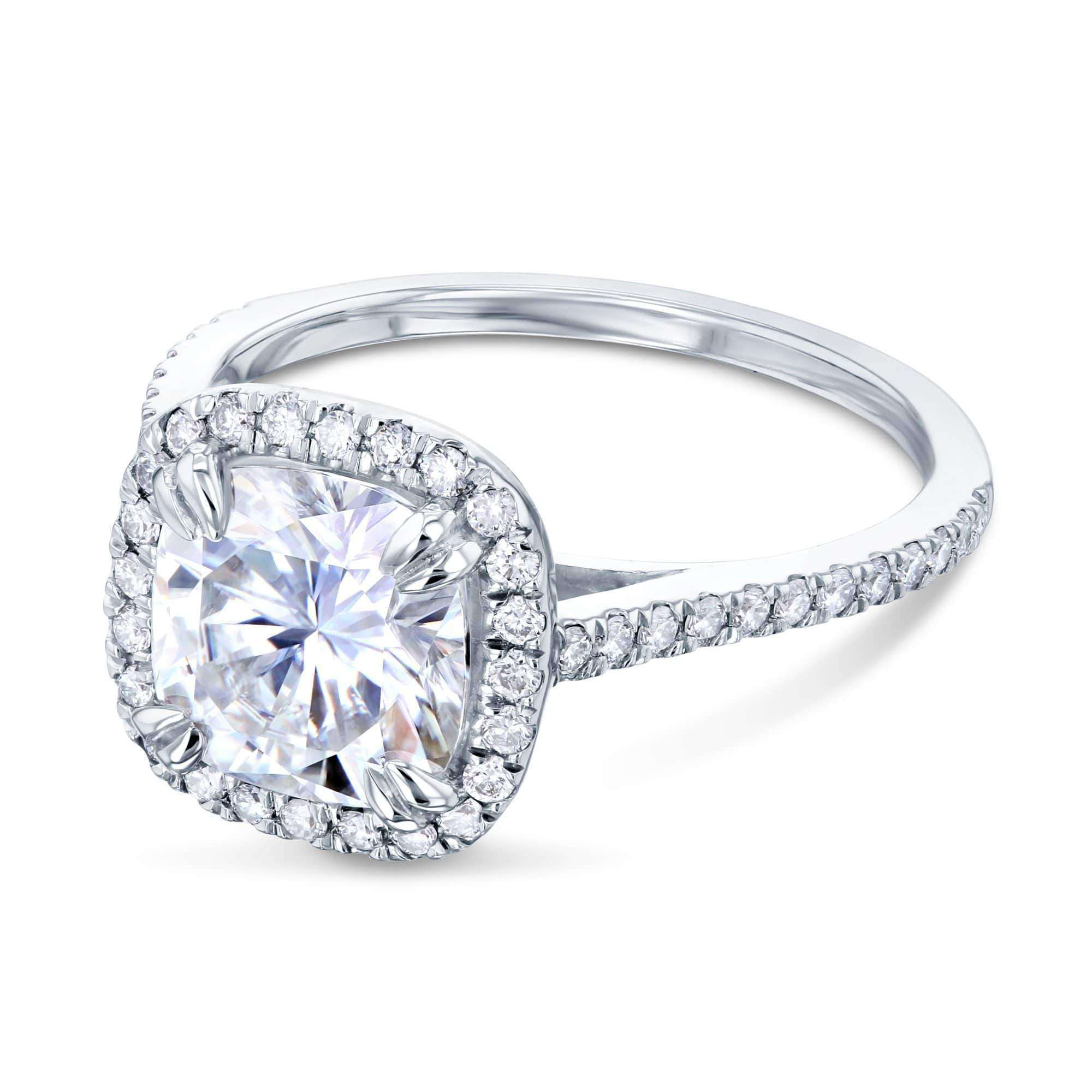 Top 2ct Cushion Forever One Moissanite Halo Ring - white-gold 6.5