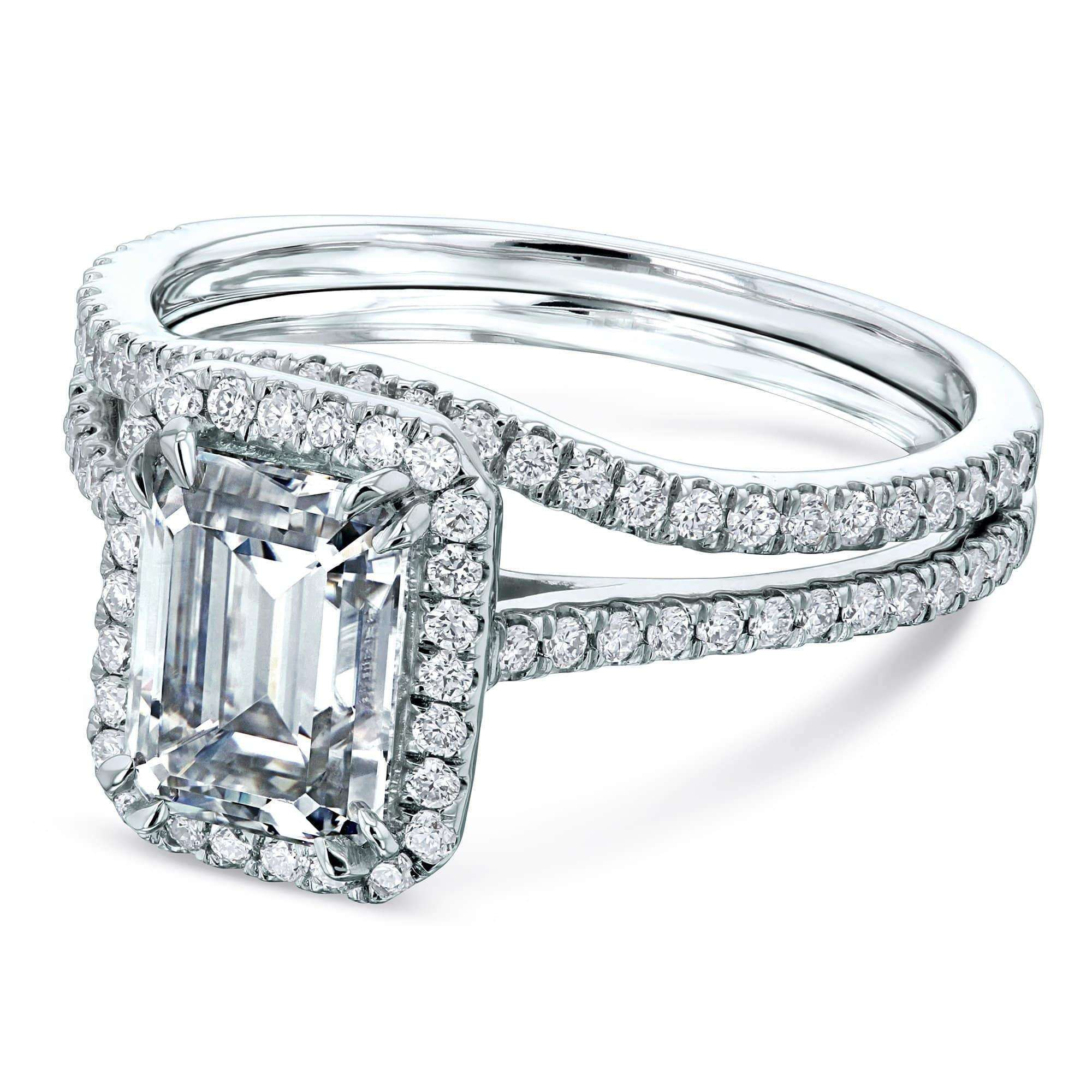 Reviews 1.75ct Emerald Forever One Moissanite Halo Bridal Set - white-gold 4.0