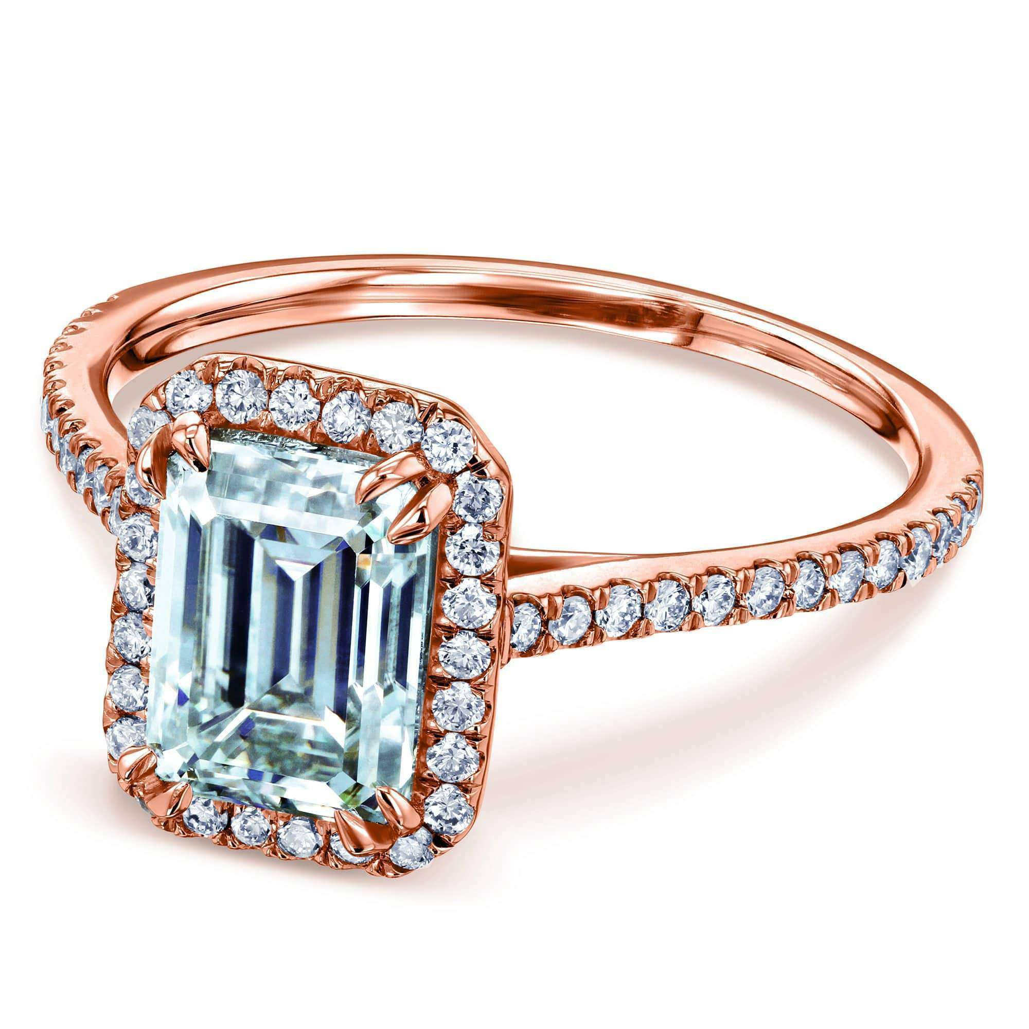 Coupons 1.75ct Emerald Forever One Moissanite Halo Ring - rose-gold 4.5
