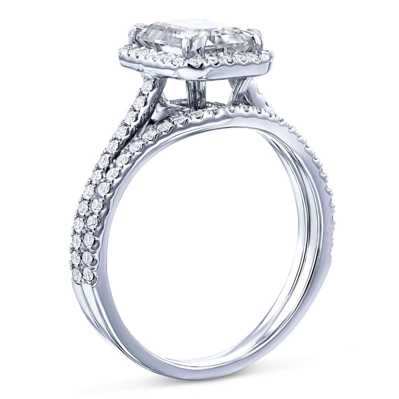 Kobelli 1.8ct Radiant Moissanite Halo Bridal Set