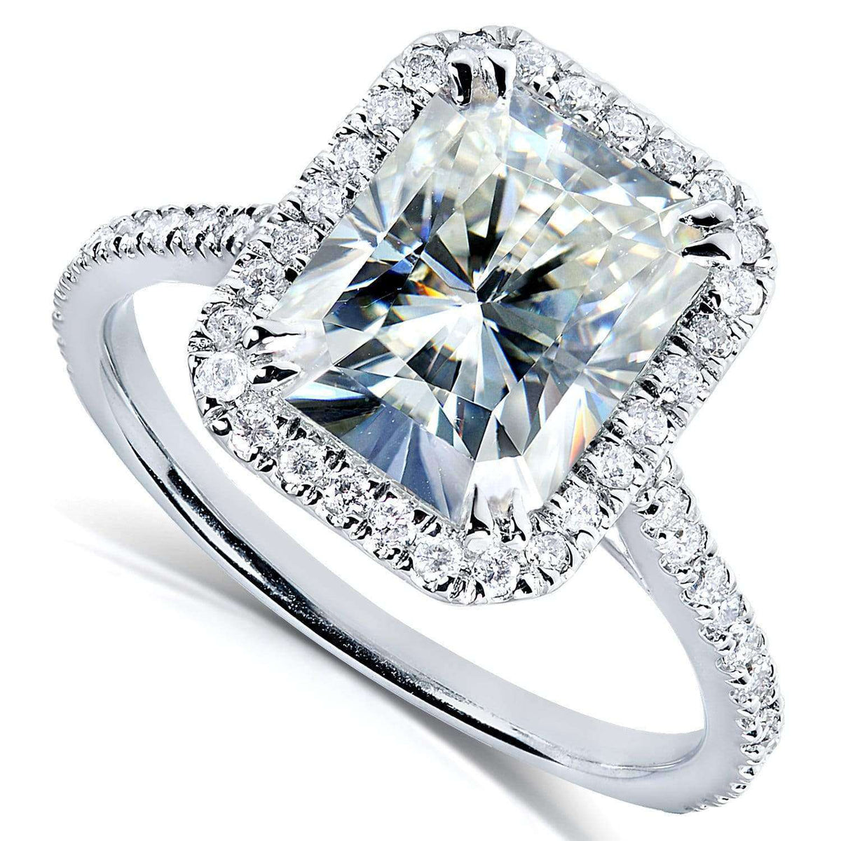 Radiant Cut Moissanite Engagement Ring With Diamond 3 Ctw