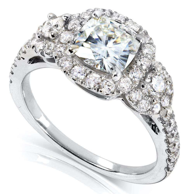Kobelli Cushion-cut Moissanite Engagement Ring with Diamond 1 7/8 CTW 14k Gold MZ61833CU-E_4.5_WG