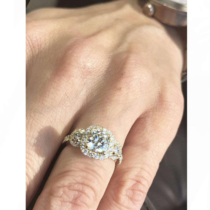 Kobelli Cushion-cut Moissanite Engagement Ring with Diamond 1 7/8 CTW 14k Gold