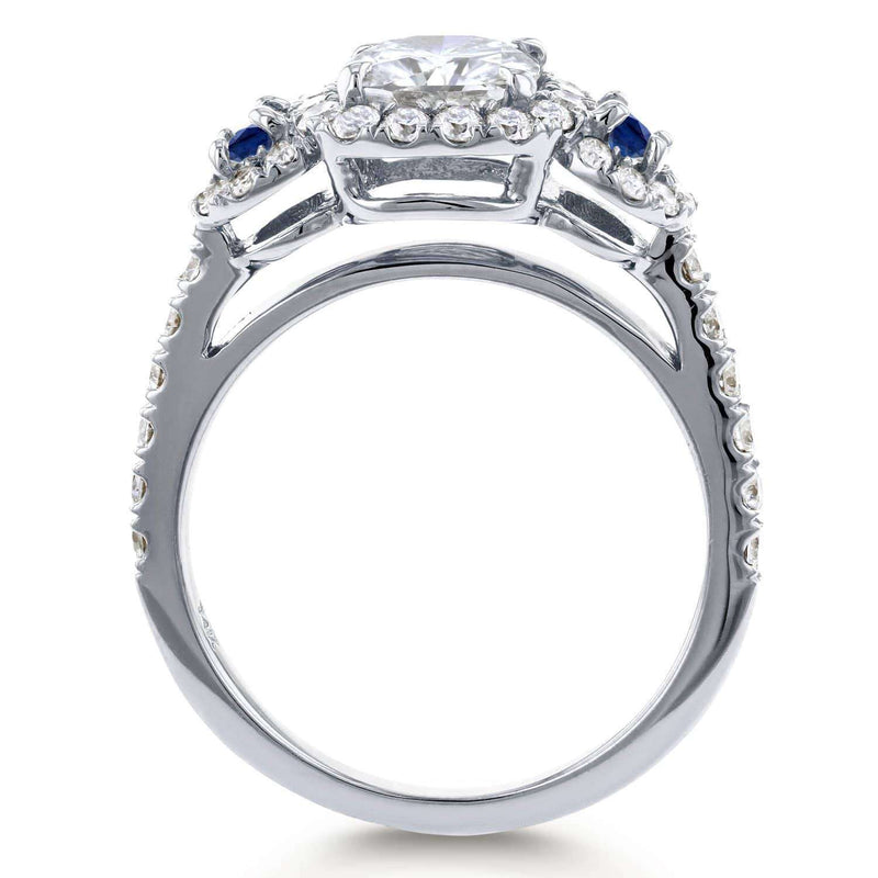 Kobelli Moissanite (HI) Sapphire and Diamond Engagement Ring 1 3/4 CTW 14k White Gold