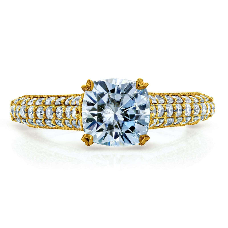 Kobelli Cushion-cut Moissanite Engagement Ring with Diamond 1 5/8 CTW 14k Gold