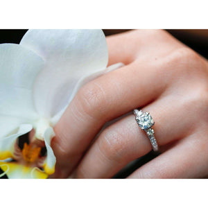 Forever One (D-F) Moissanite Engagement Ring with Diamond 1 3/5 CTW 14k White Gold