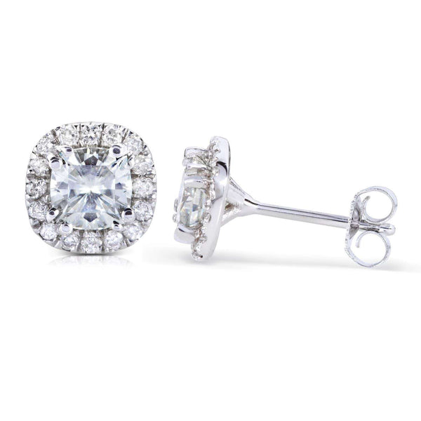 Kobelli Cushion-cut Moissanite and Diamond Earrings 1 1/5 CTW 14k Gold MZ61844_WG