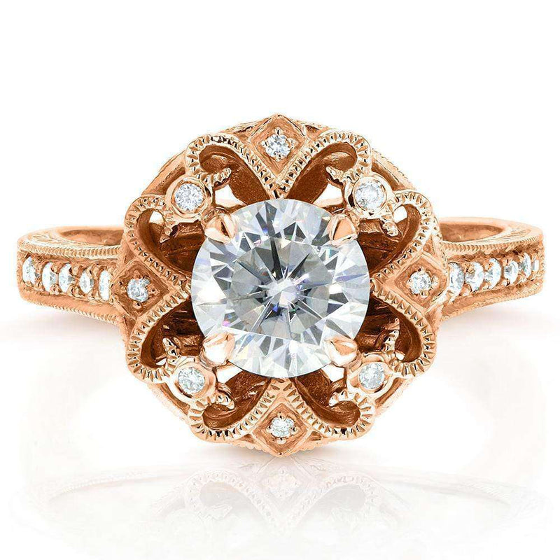 Kobelli Antique Round Moissanite Engagement Ring with Diamond 1 1/5 CTW 14k Rose Gold