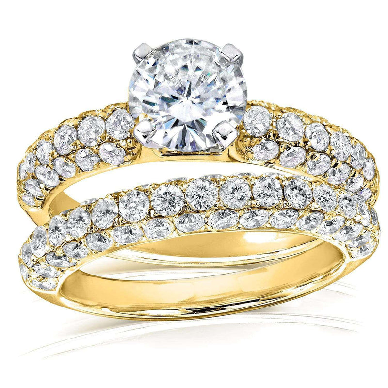 Kobelli Round Moissanite & Micro-Pavé Diamond Wedding Rings Set 2 3/4 CTW 14k Gold MZ61849R-1ED_4.5_YG