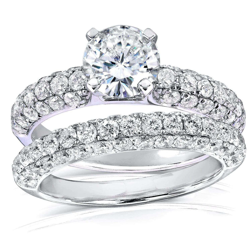 Kobelli Round Moissanite & Micro-Pavé Diamond Wedding Rings Set 2 3/4 CTW 14k Gold MZ61849R-1ED_4.5_WG