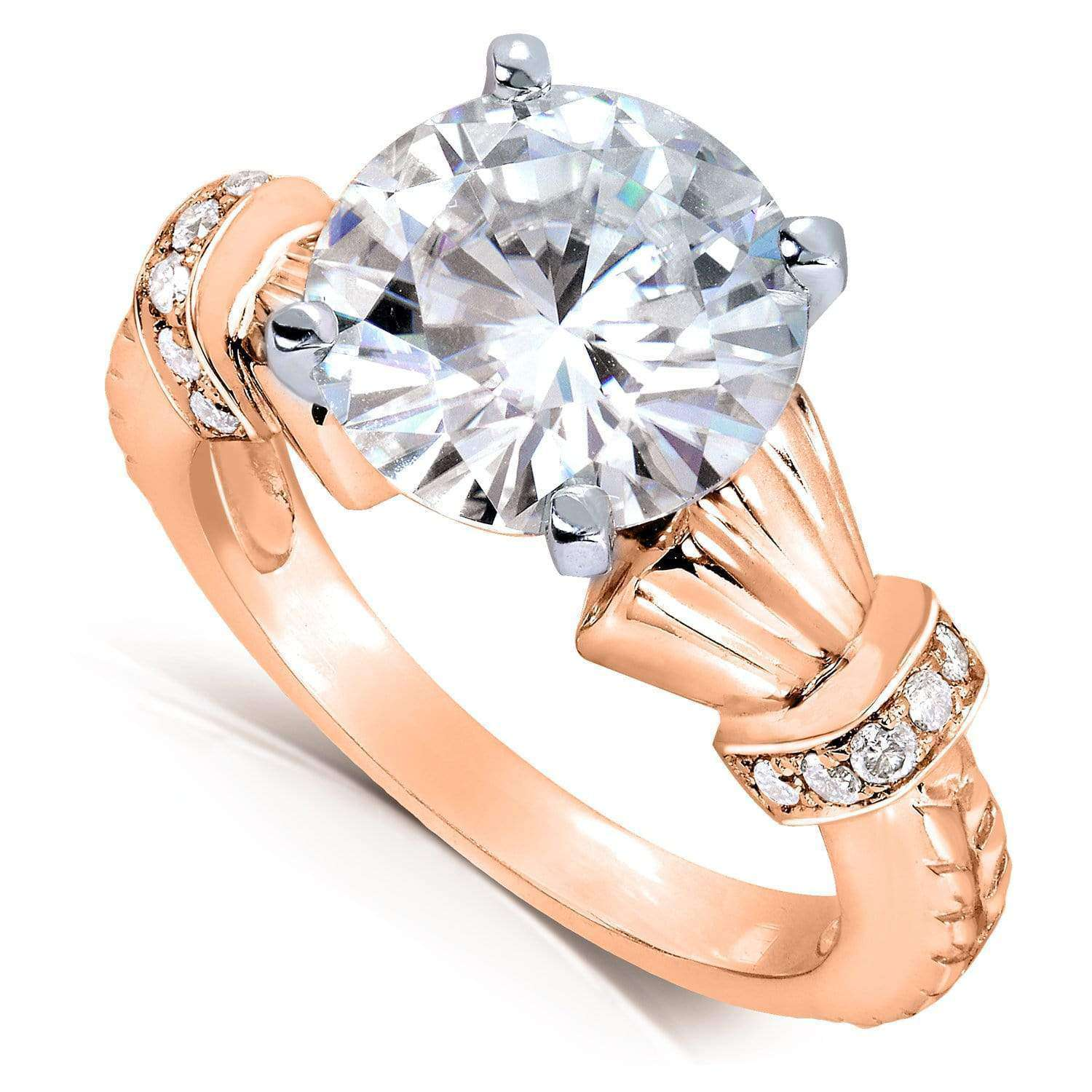 Reviews Round-cut Moissanite Engagement Ring with Diamond 3 1/4 Carat 14k Gold - rose-gold 6.5