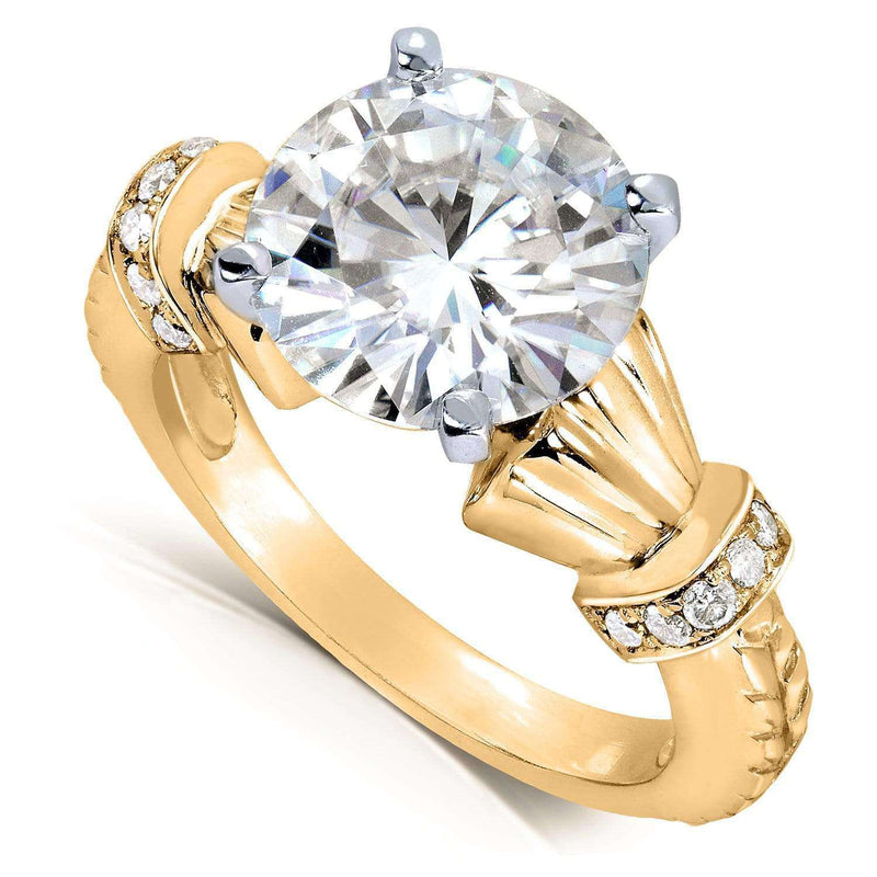 Kobelli Round-cut Moissanite Engagement Ring with Diamond 3 1/4 Carat 14k Gold MZ61875R-E_4.5_YG