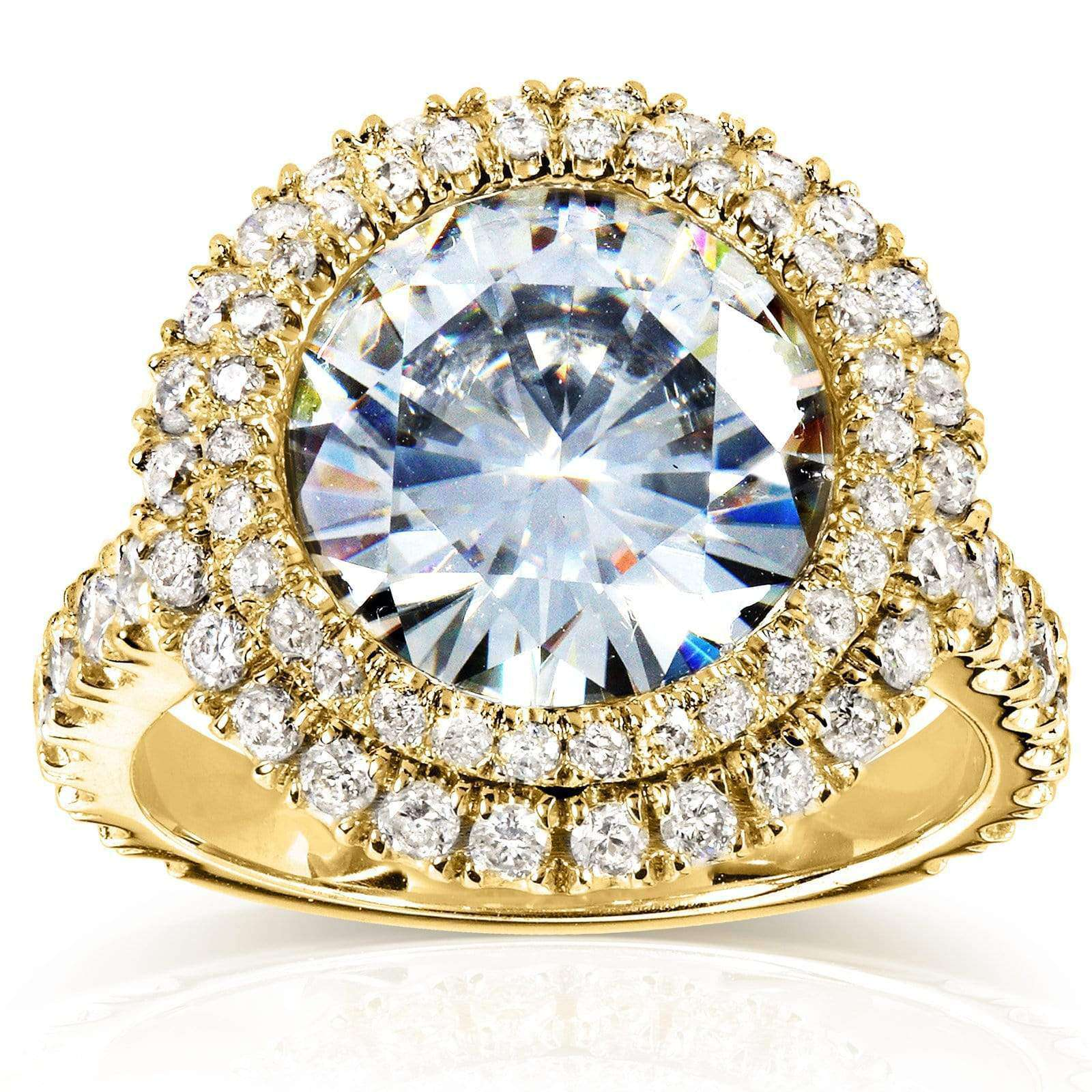 Best Double Halo Near-Colorless (F-G) Moissanite Engagement Ring with Diamond 5 7/8 CTW 14k Yellow Gold - 10