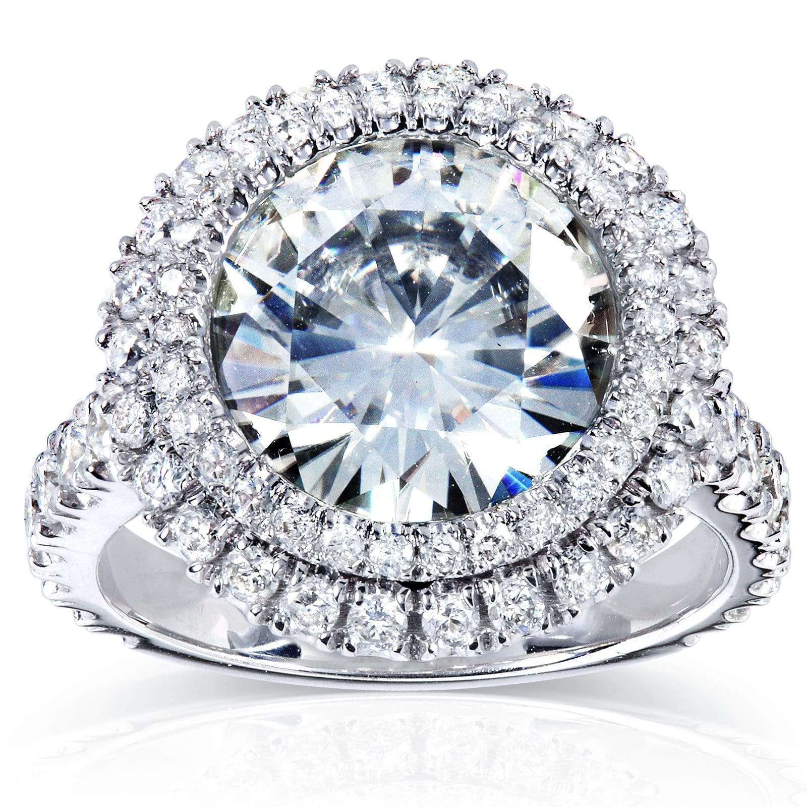 Top Double Halo Near-Colorless (F-G) Moissanite Engagement Ring with Diamond 5 7/8 CTW 14k White Gold - 9.5