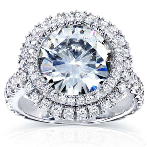 Double Halo Round Moissanite and Diamond Engagement Ring 5 7/8 Carat (ctw) in 14k White Gold