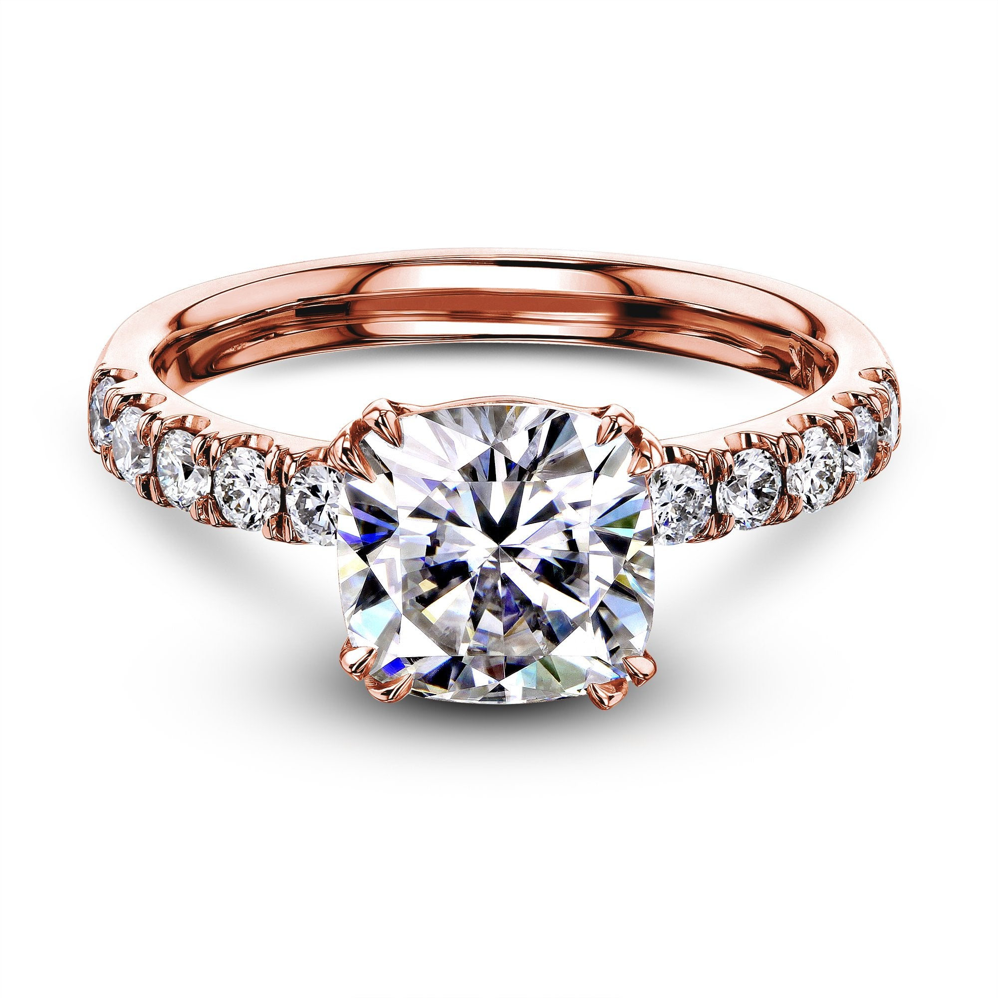 Top 2ct Cushion Moissanite Comfort Fit French Pave - rose-gold 4.0 Kobelli H-I