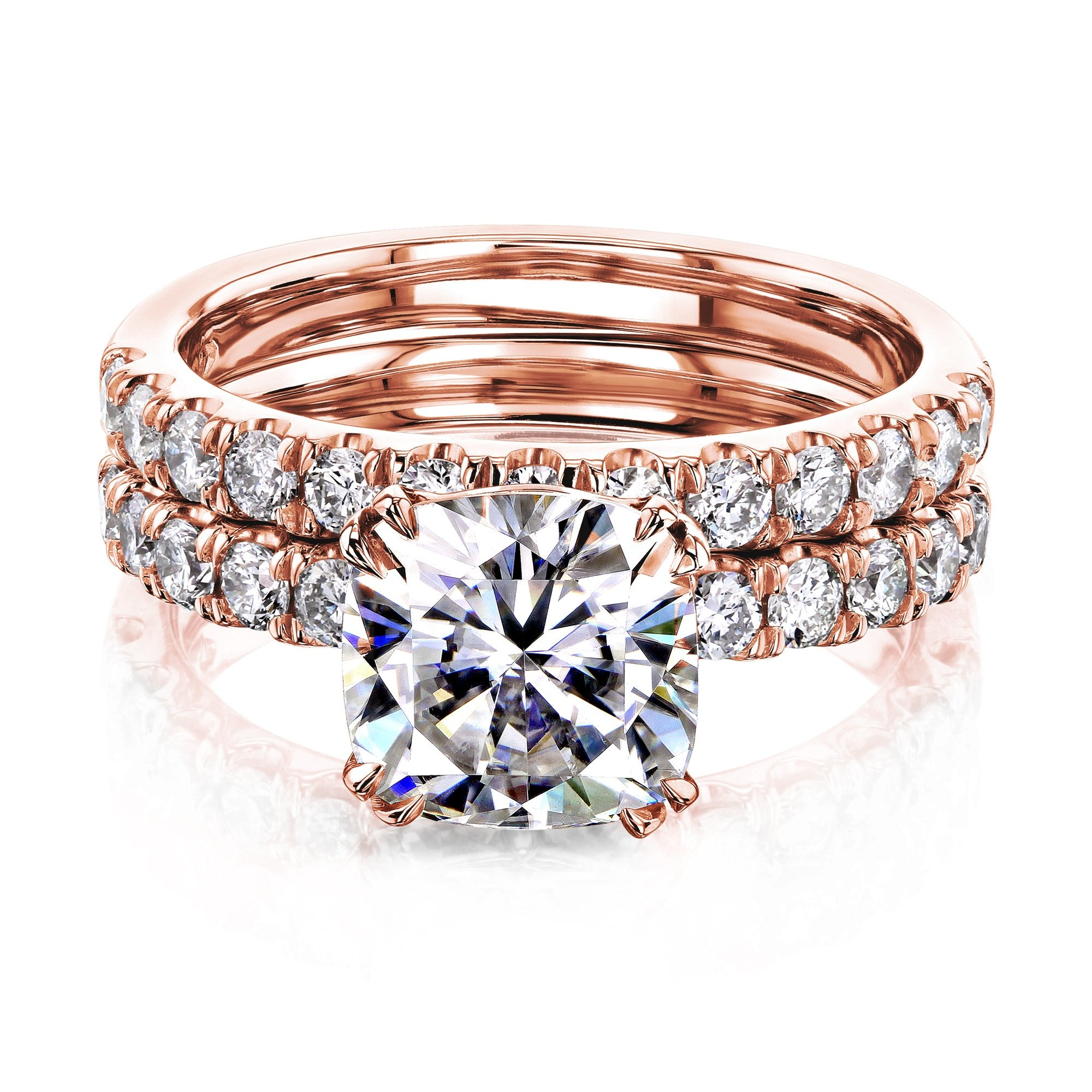 Coupons 2ct Cushion Moissanite Comfort Fit French Pave Bridal - rose-gold 6.0 Kobelli H-I