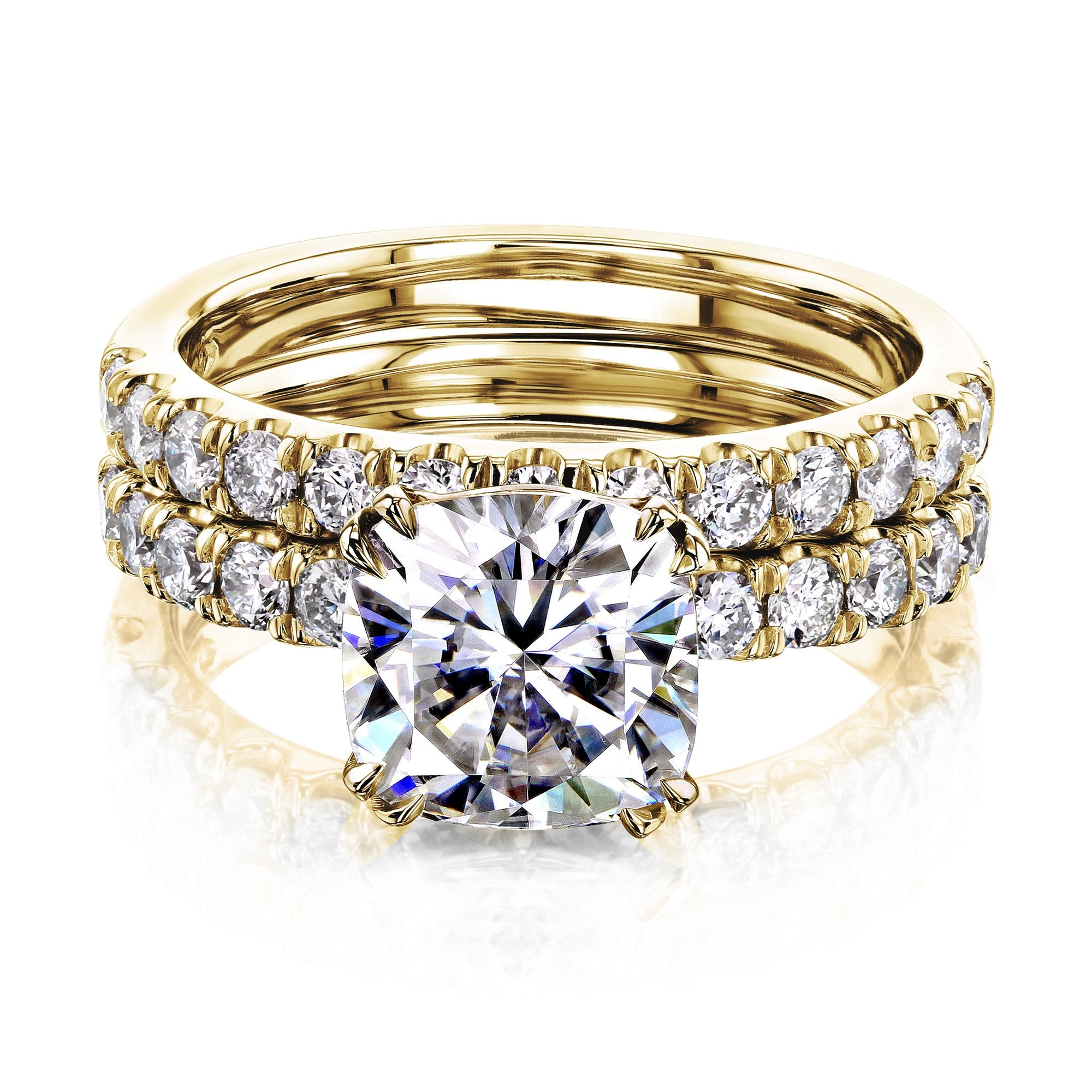 Best 2ct Cushion Moissanite Comfort Fit French Pave Bridal - yellow-gold 4.5 Kobelli H-I