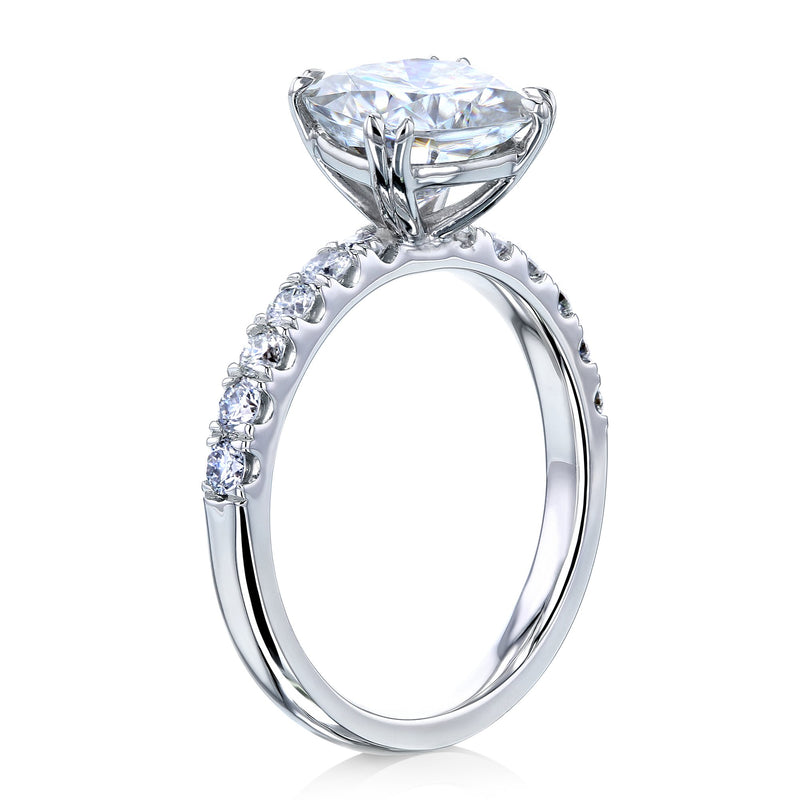 Kobelli 2ct Cushion Moissanite and Diamond U-French Pave Engagement Ring