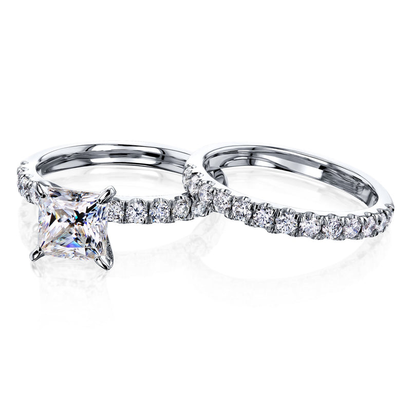 Kobelli 1.5ct Princess Moissanite Floating Bridal Set