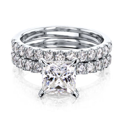 Kobelli 1.5ct Princess Moissanite and 9/10ct TDW Diamond U-French Pave Bridal Set