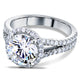 Kobelli Round-Cut Moissanite Engagement Ring with Halo Diamond 2 2/5 CTW 14k White Gold